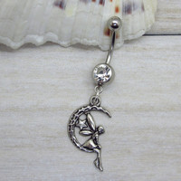 Antique silver crescent moon and angel belly button ring ,  moon charm, navel piercing, belly button ring jewelry,unique gift