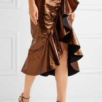 Johanna Ortiz - Constantina ruffled leather wrap skirt
