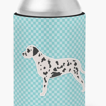Dalmatian  Checkerboard Blue Can or Bottle Hugger BB3683CC