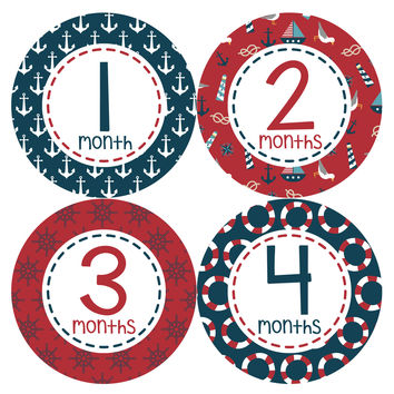 Baby Boy Monthly Milestone Age Stickers Style #388
