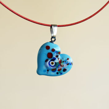 Turquoise Murano Glass Evil Eye Heart Pendant , Lamp Work Heart Necklace,Colorful Bead Pendant, Heart Murano Lampwork Turkish Evil Ey