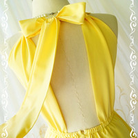 A Party Kate Cocktail Dress Cut Off Back Halter Dress Lemon Yellow Party Dress Backless Yellow Prom Dress Wedding Bridesmaid Dresses XS-XL