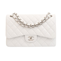 Chanel White Quilted Caviar Jumbo Classic 2.55 Double Flap Bag