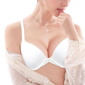 9b77661115a3f YANDW Bra Women Front Closure Thin Lace Back Y-line Underwire Wh