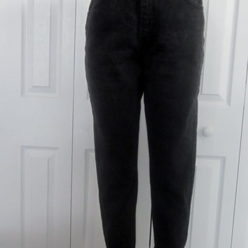 Vintage Black Lee Jeans, High Waisted Jeans, 90s Grunge Skinny Leg, USA, High Waist Black Denim Jeans Mom Jeans Womens 13 Petite Waist 30