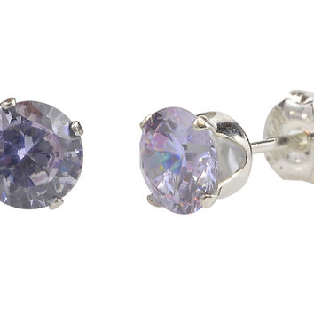 Sterling Silver Lavender Round CZ Stud Earrings Cubic Zirconia Prong Setting
