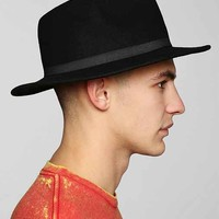 Wide Brim Felt Fedora- Black L/xl
