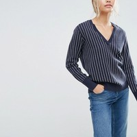 Selected Striped V-Neck Sweater at asos.com