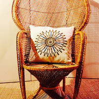 Mid-Century Boho Chic Wicker Peacock Chair