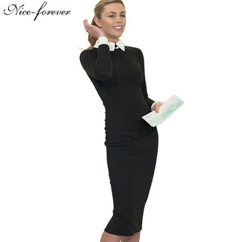 Nice-forever Career Women Autumn Turn-down Collar Fit Work Dress Vintage Elegant Business office Pencil bodycon Midi Dress 751