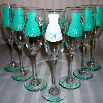 9 Personalized Wedding Glasses Bride and by SimplySouthernCharms