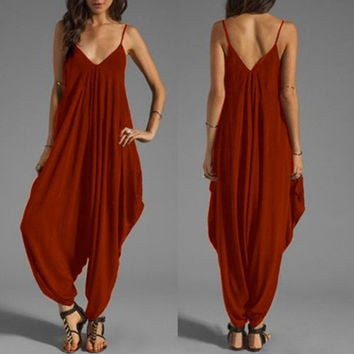 Spaghetti Strap Solid Loose Sleeveless Jumpsuit