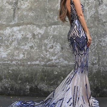 Tinaholy Couture P1732 Blue Scalloped Sequin Formal Gown Dress