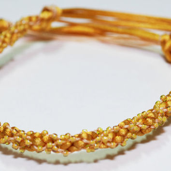 Beaded Kumihimo Fiber Bracelet Golden Sunshine Yellow Jewelry