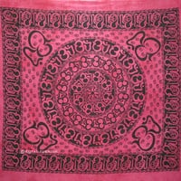 Indian Hindu OM Screen Printed Cotton Hippie Tapestry & Wall Hanging