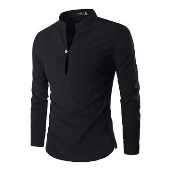 New Black Polo Shirt Men Polo Homme Autumn Mens Fashion  Slim Fit Long Sleeve Henley Shirt Casual Brand Mens Polo Shirts