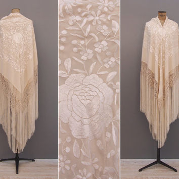 La Serrana Shawl - Vintage 1970s Cream Silk Piano Shawl - Floral Embroidered Fringe Manila Shawl