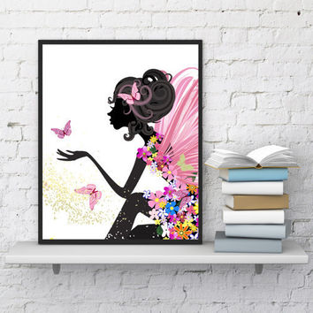 Fairy print Butterflies art Girls room Wall decor Fairy tale Pink butterfly Nursery decor Digital print Nursery girls art Printable art