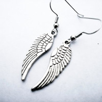 Silver Angel Wing Earrings / Supernatural Castiel /Harry Potter /Harley Davidson Wings/ Daryl Dixon Walking Dead/.925 Sterling Silver