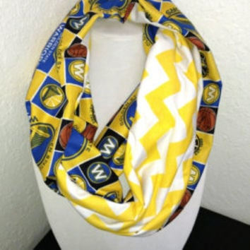 Golden State Warriors Infinity Scarf NBA Basketball  -  Yellow White Chevron jersey knit, cotton