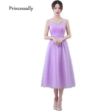 Lilac Bridesmaid Dresses Tea Length Tulle Sweetheart Beading Lavender Dusty Rose Bridesmaid Elegant Women Prom Party Dresses