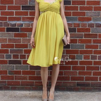 Ashley Yellow Empire Waist Cocktail Dress