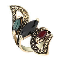 1Pcs Fashion 2017 Vintage Big Ring Antique Gold Plated Mosaic Colorful Resin Rings For Women Size 7 8 9 10 Turkish Jewelry -03328