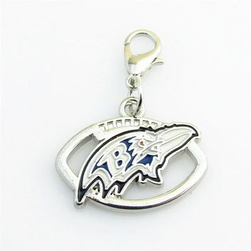 USA Football Team Baltimore Ravens Silver lobster clasp Dangle Charm Pendant With DIY Sports Bracelet Necklace Jewelry