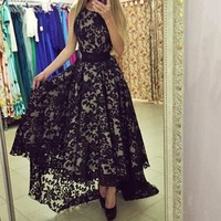 Vestidos Sexy Women elegant vintage Sleeveless Prom Ball Party dress tunic Long Maxi black white Lace Asymmetrical Dress