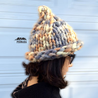 Handmade Super Super bulky Cone knitted Beanies