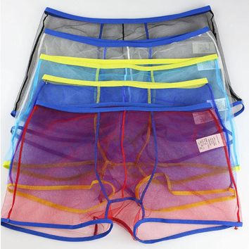 New Mesh Men Boxers Sexy Gay Men Underwear Boxer Shorts See Through Underwear Sexy Transparent Men Boxer