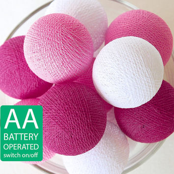 20 Pink Tone Cotton Ball LED String Lights AA Battery Operated, Wedding, Patio Party, Decor, Outdoor, Bedroom
