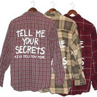 TELL ME YOUR SECRETS Vintage Flannel Shirt WARM COLORS (One of a Kind)