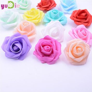 10PCS/lot 6.5cm Multicolor Artificial Crimping Foam rose head Use For Wedding Decoration DIY Wreaths Craft Gift Supplies