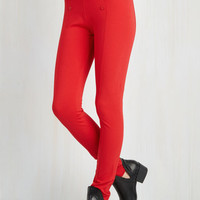 Nautical Skinny Sail into the Future Pants in Red