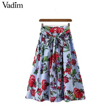 Women sweet pleated plaid floral skirts sashes buttons pockets casual mid calf skirts
