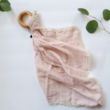 Peony Pink -  Organic Muslin Lovey with Teething Ring