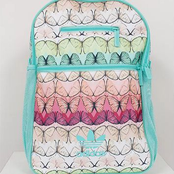 Adidas Green Farm Butterfly Print Sport School Shoulder Bag Travel Bag Laptop Backpack