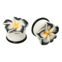 White Tropical Flower Saddle Plug 2 Pack