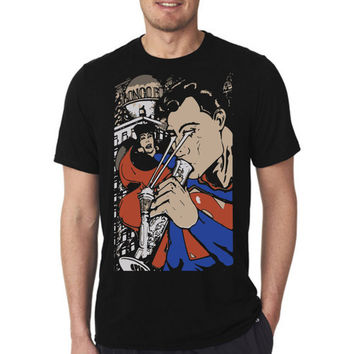 superman smoker dc comics hype hipster t shirt hand made in italy in 100% cotton with high quality print