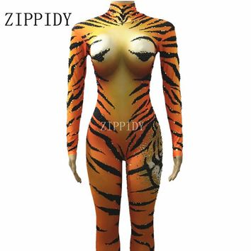 Bright Rhinestones Tiger Printed Design Jumpsuit Glisten Crystals Rompers Costume Stage Performance Outfit Big Stretch Bodysuit