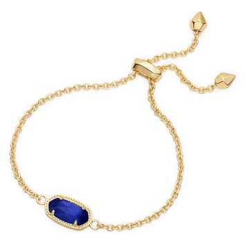 Kendra Scott Elaina Cobalt Cat's Eye Gold Adjustable Bolo Bracelet