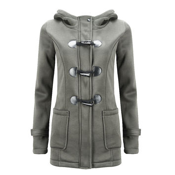 2017 Winter Coat Women Thick Slim Outerwear Long sleeve Jackets Hooded long-sleeved classic horn leather buckle coat jacket coat
