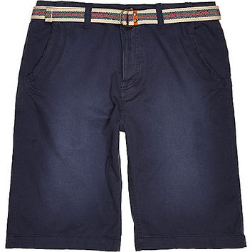 River Island MensDark blue Tokyo Laundry belted shorts