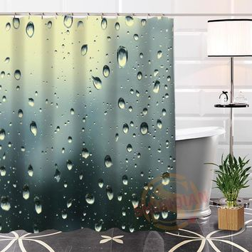 Custom raindrop Fabric Shower Curtain bathroom Waterproof High Quality Popular Modern 100% Polyester Curtain