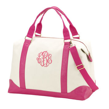 Canvas Monogrammed Weekender Bag in Pink