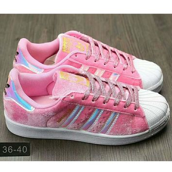 One-nice™ Adidas Fashion Shell-toe Flats Running Sneakers Sport Shoes Pink I-HAOXIE-ADXJ