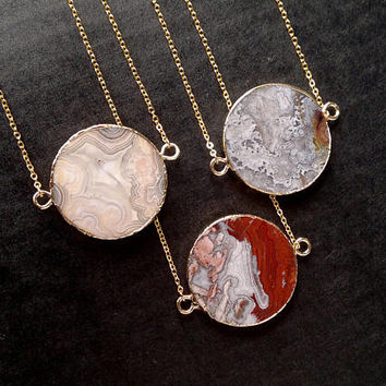 Crazy Lace Agate Necklace Stone Necklace Crazy Lace Agate Pendant Geometric Jewelry Circle Pendant Agate Jewelry Stone Necklace Boho Stone