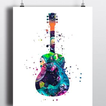 Guitar Watercolor Art Print - Unframed
