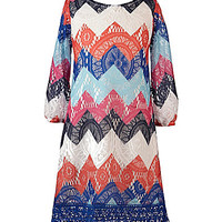 My Michelle 7-16 Chevron Shift Dress - Navy/Multi
